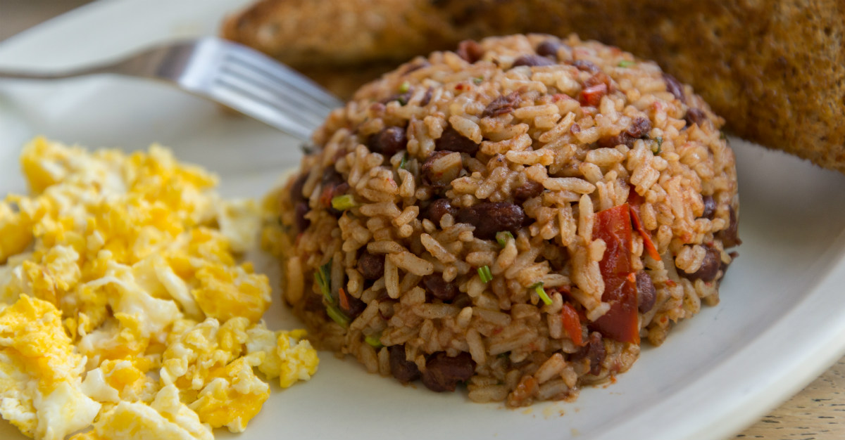 The beans-and-rice dish gets the Spanish name from its colorful appearance.
