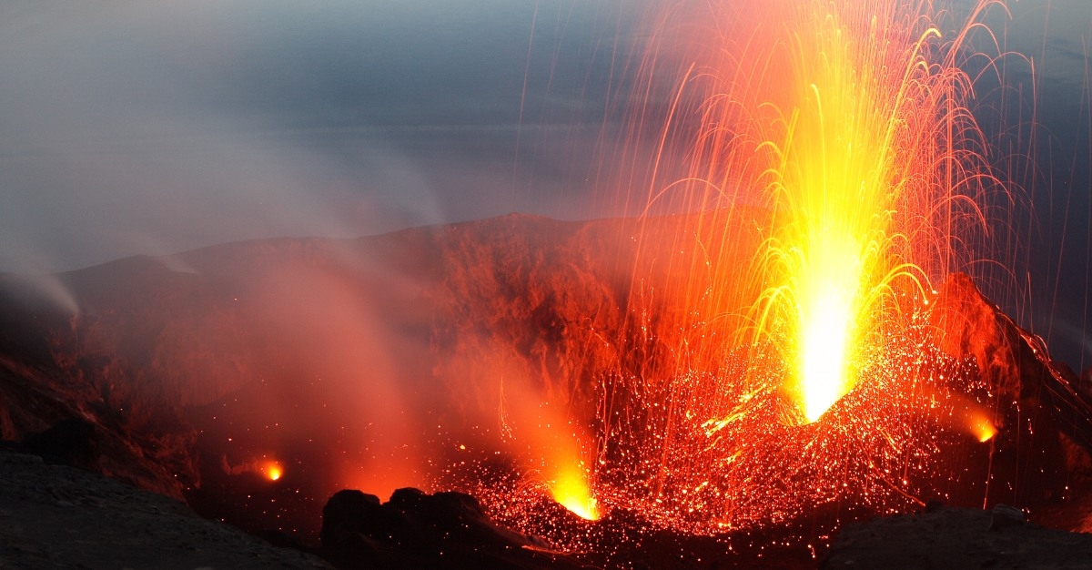 Mount Stromboli during an eruption.